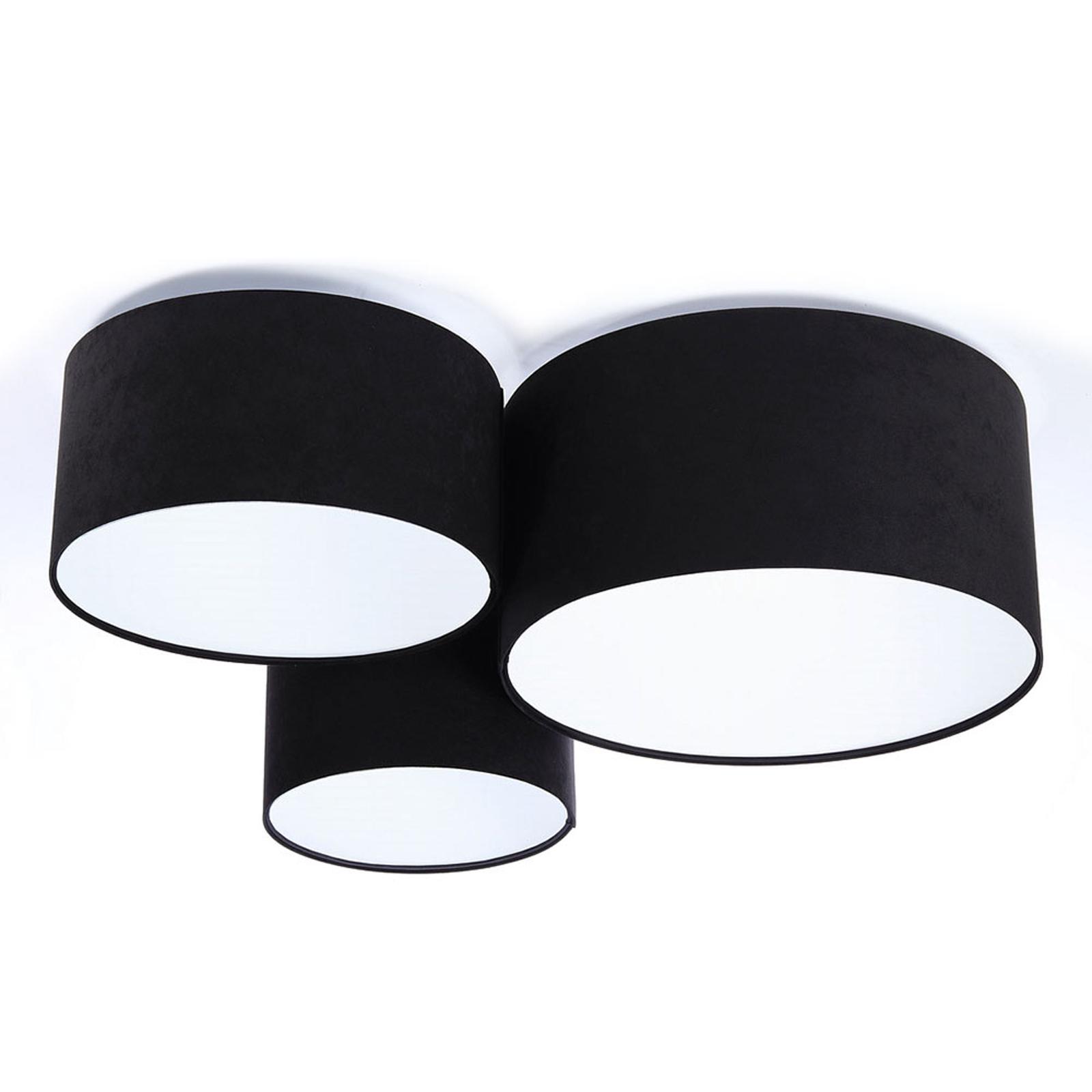 Lampa sufitowa 080, 3-punktowa, czarno-biała