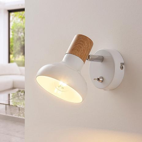 Biały metalowy reflektor Fridolin z przełącznikiem