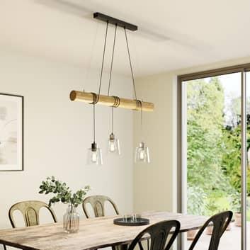 Hanglamp Karrl, 3-lamps, helder/bruin