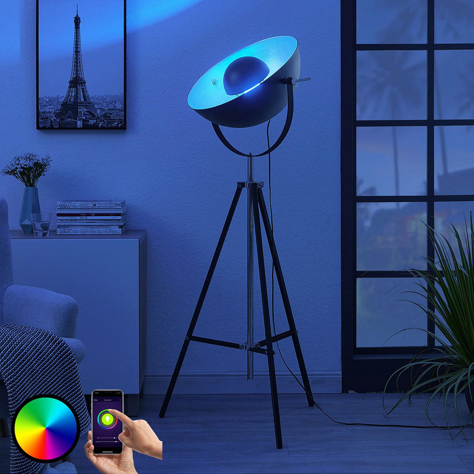 Trójnożna lampa stojąca LED Muriel WiFi czar/srebr