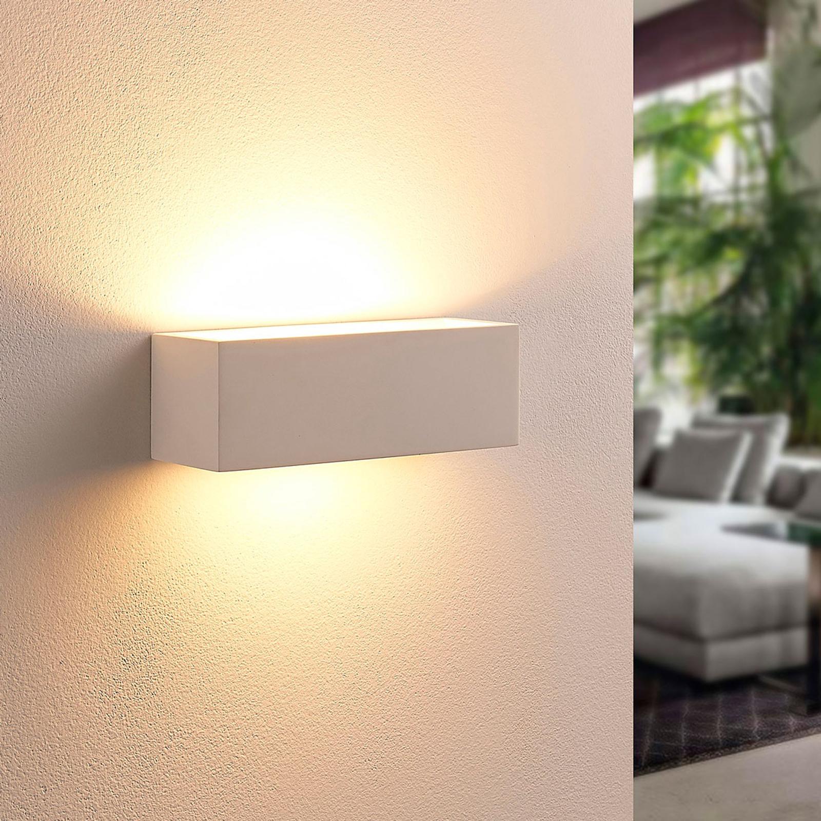 Kantig LED-vägglampa Tjada av gips