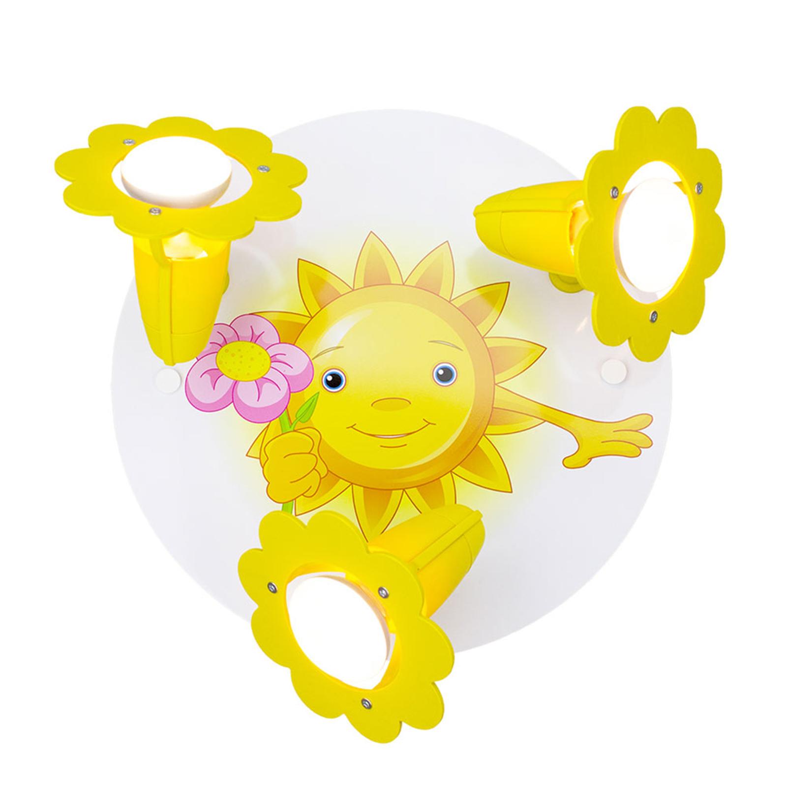 Plafonnier Soleil avec fleur 3 lampes, jaune-blanc