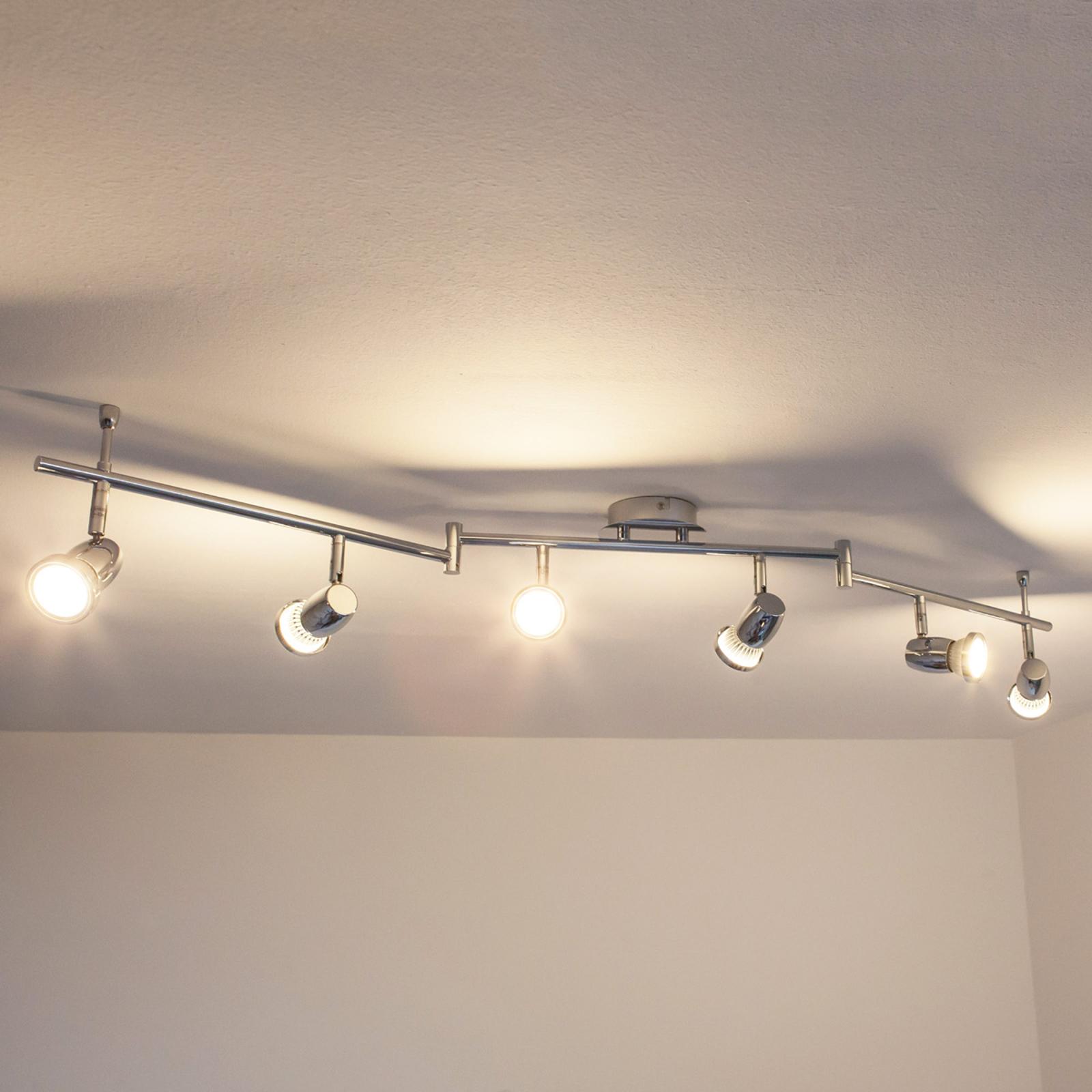 LED krom loftlampe med 6 lyskilder, Arminius