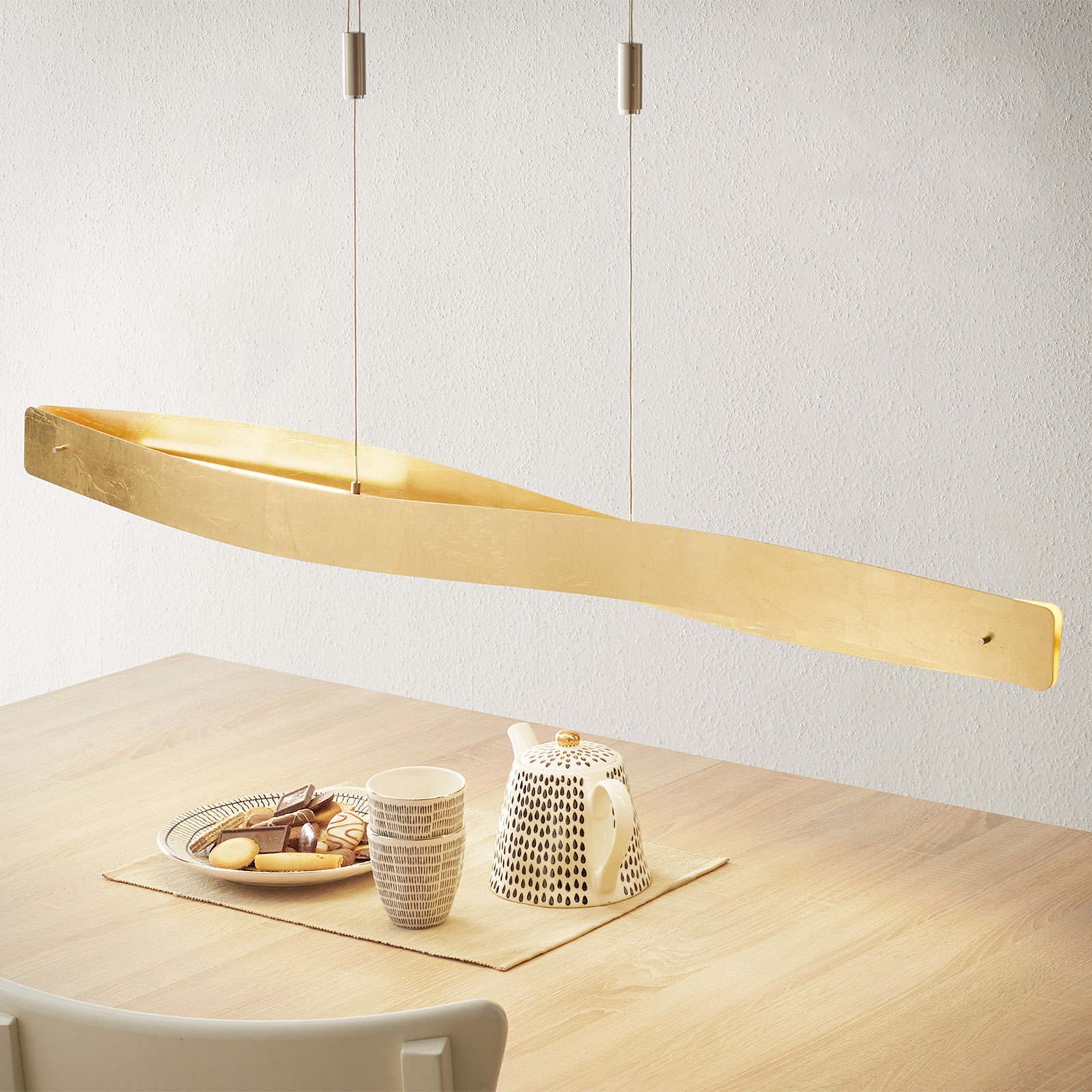 Gebogen led hanglamp Lian in goudlook