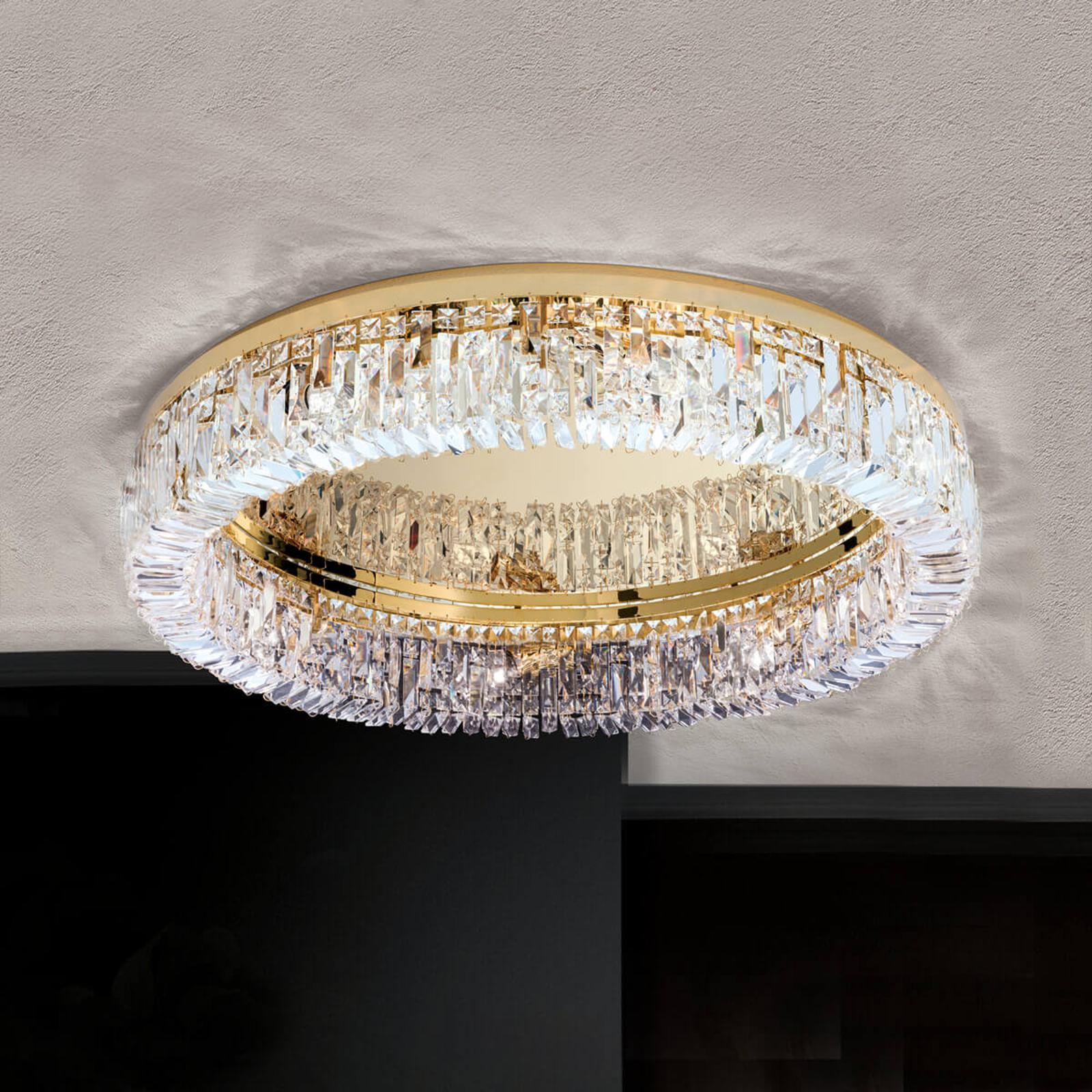 Kryształowa lampa sufitowa Pierścień 75 cm