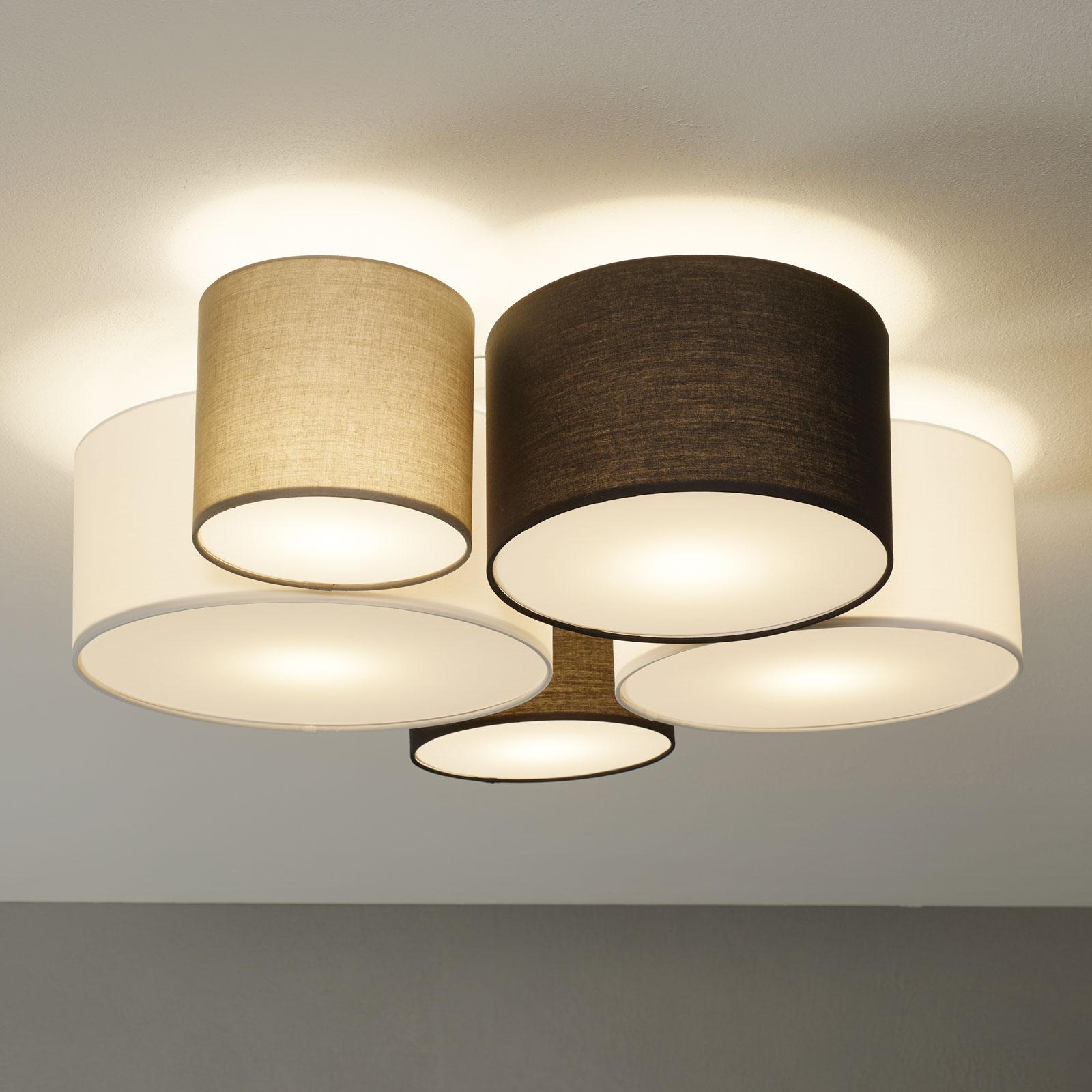 Lampa sufitowa Hotel, pięć tekstylnych kloszy