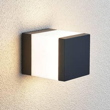 LED-Außenwandlampe Litas, eckig, dunkelgrau