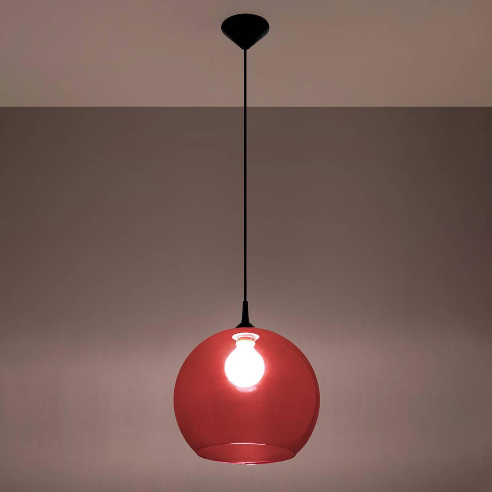 Hanglamp Colour, glazen kap rood