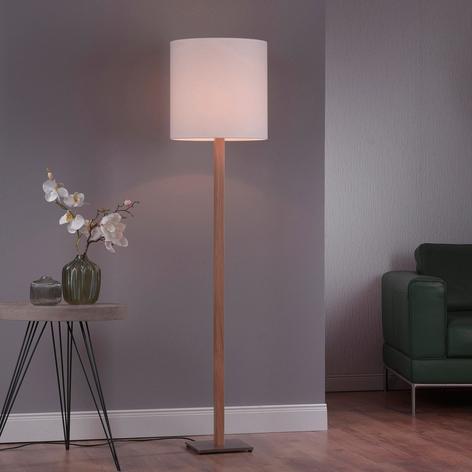 Lucande Elif lámpara de pie blanca, angular, roble