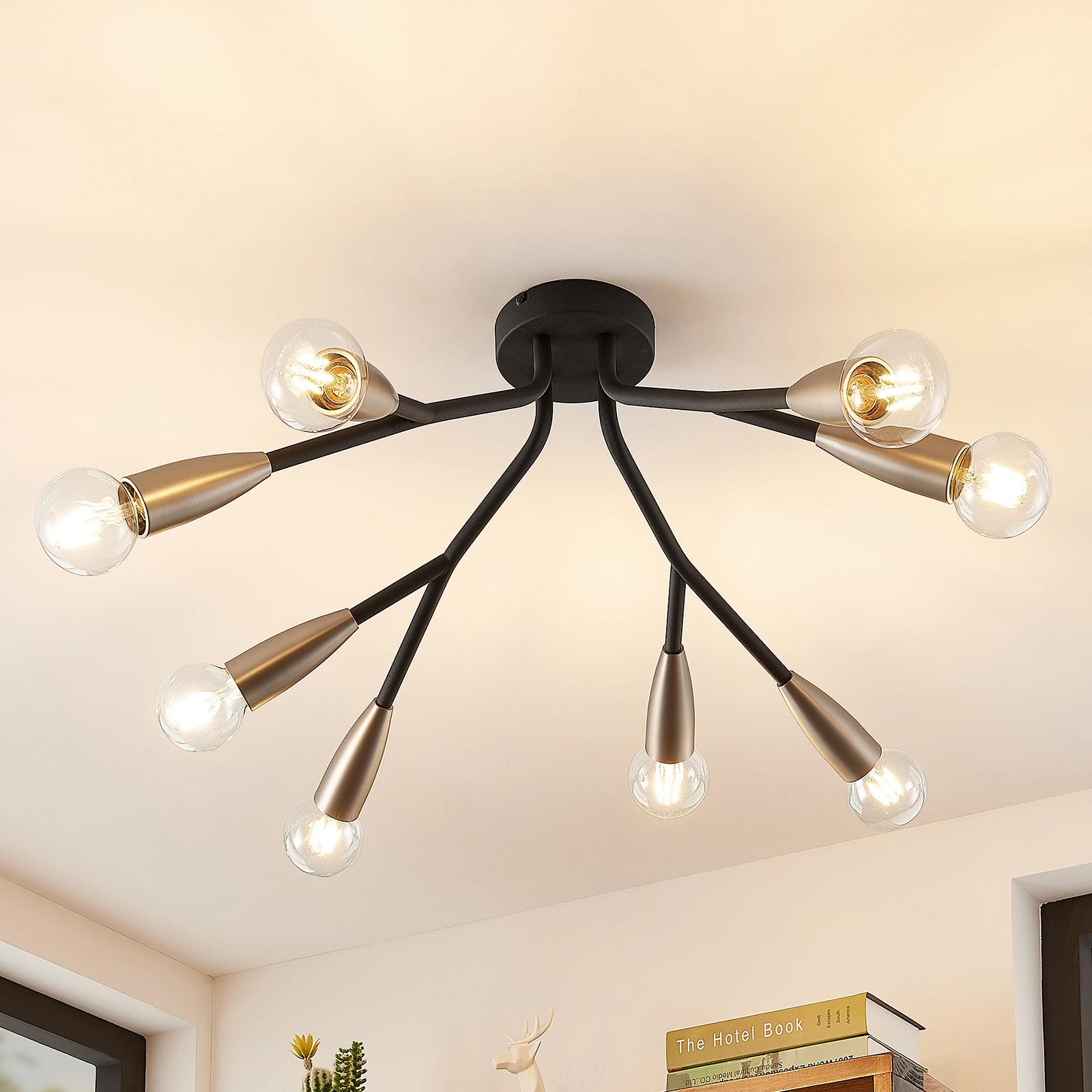 Lucande Carlea plafondlamp, 8-lamps zwart-nikkel