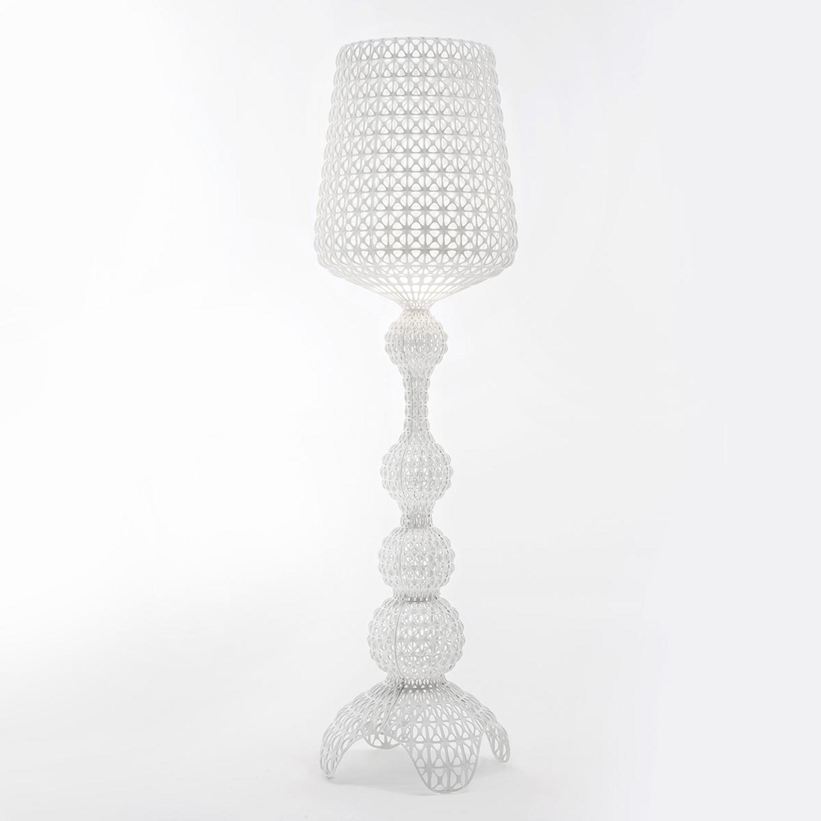 Designerska lampa stojąca LED Kabuki, biała