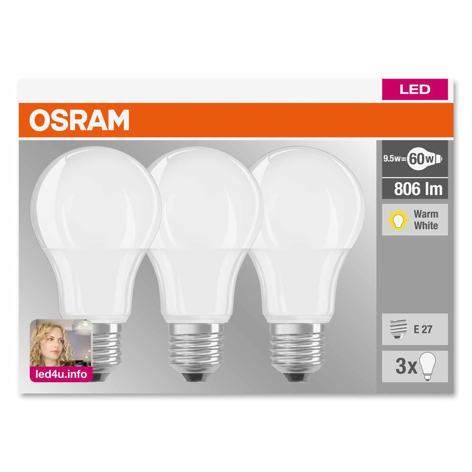 E27 9,5W 827 matt LED-lampa, 3-pack