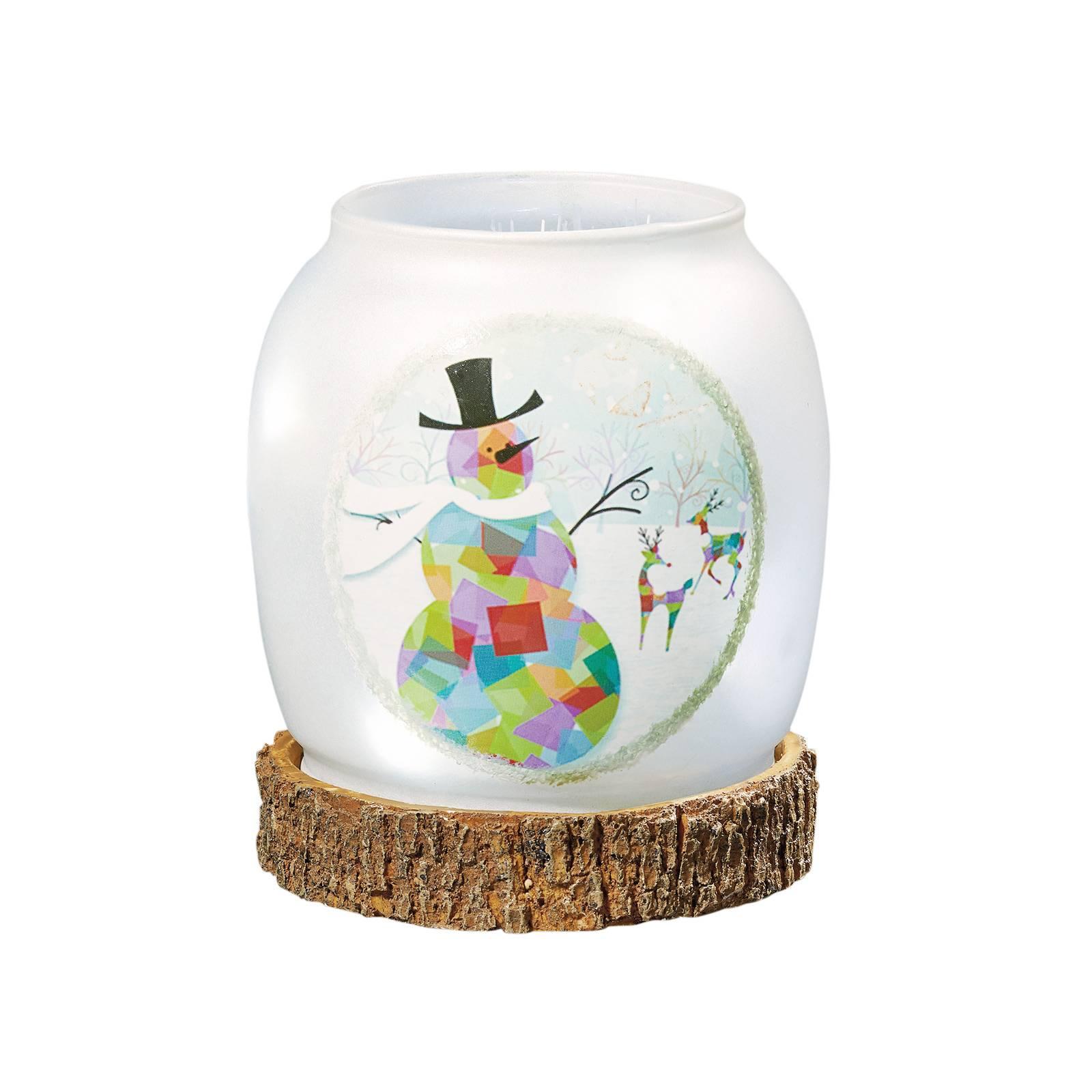 Snowman LED glass vase, battery-powered
