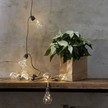 Cadena de luces Jutta Jute con pilas 10 bombillas