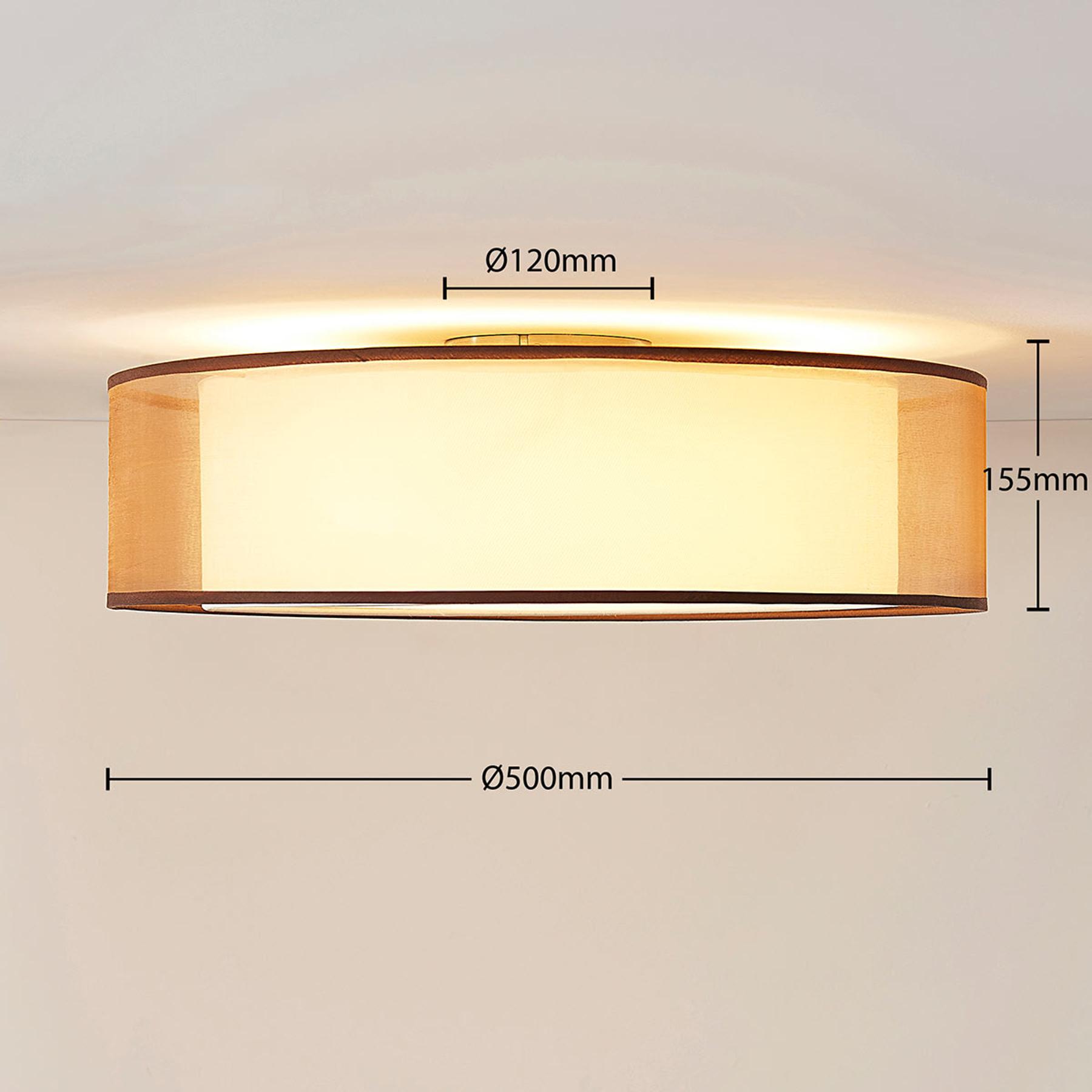 LED-Deckenlampe Amon Stoff Organza Braun Lampenwelt Deckenleuchte Rund 50 cm