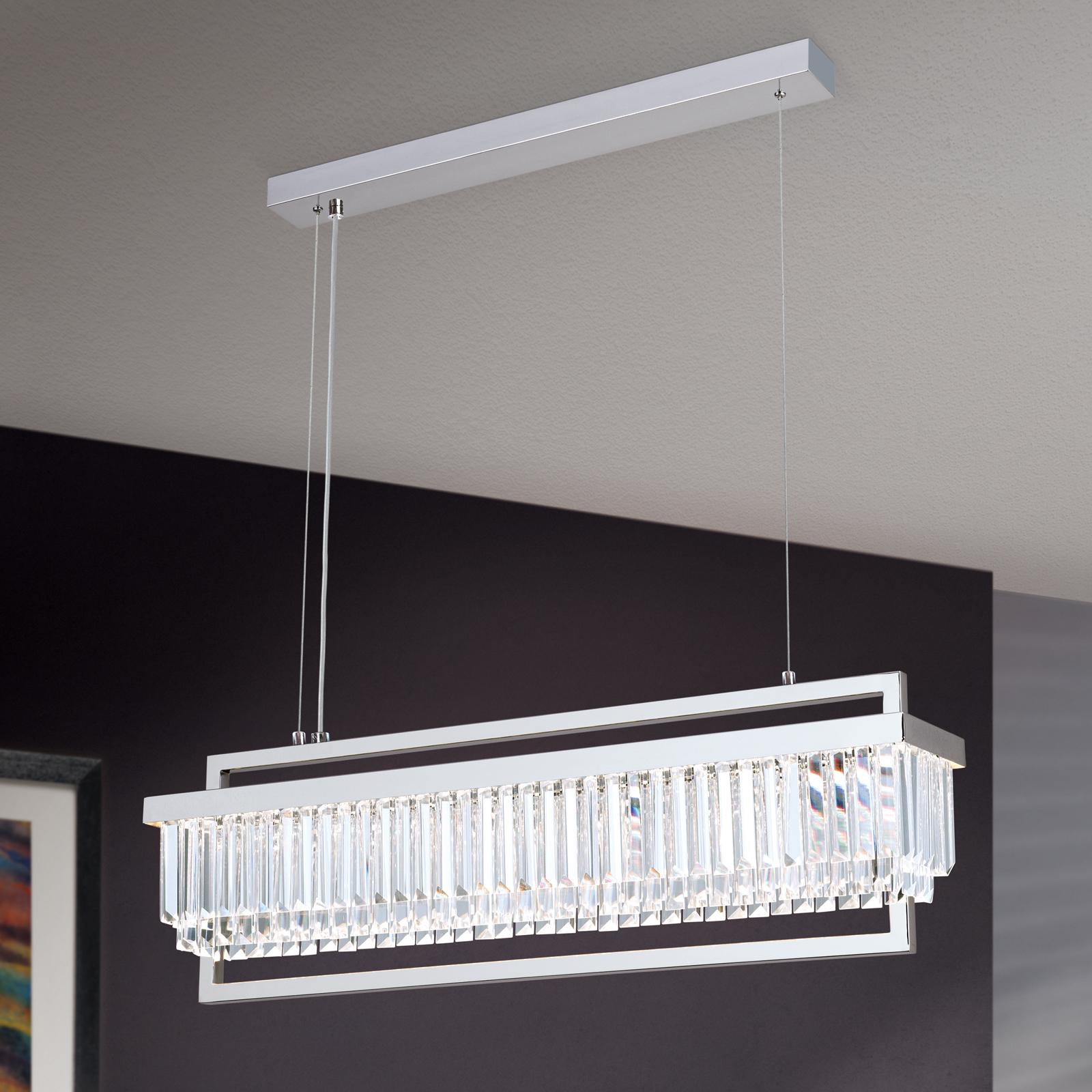 LED-hengelampe Prisme, lang krom