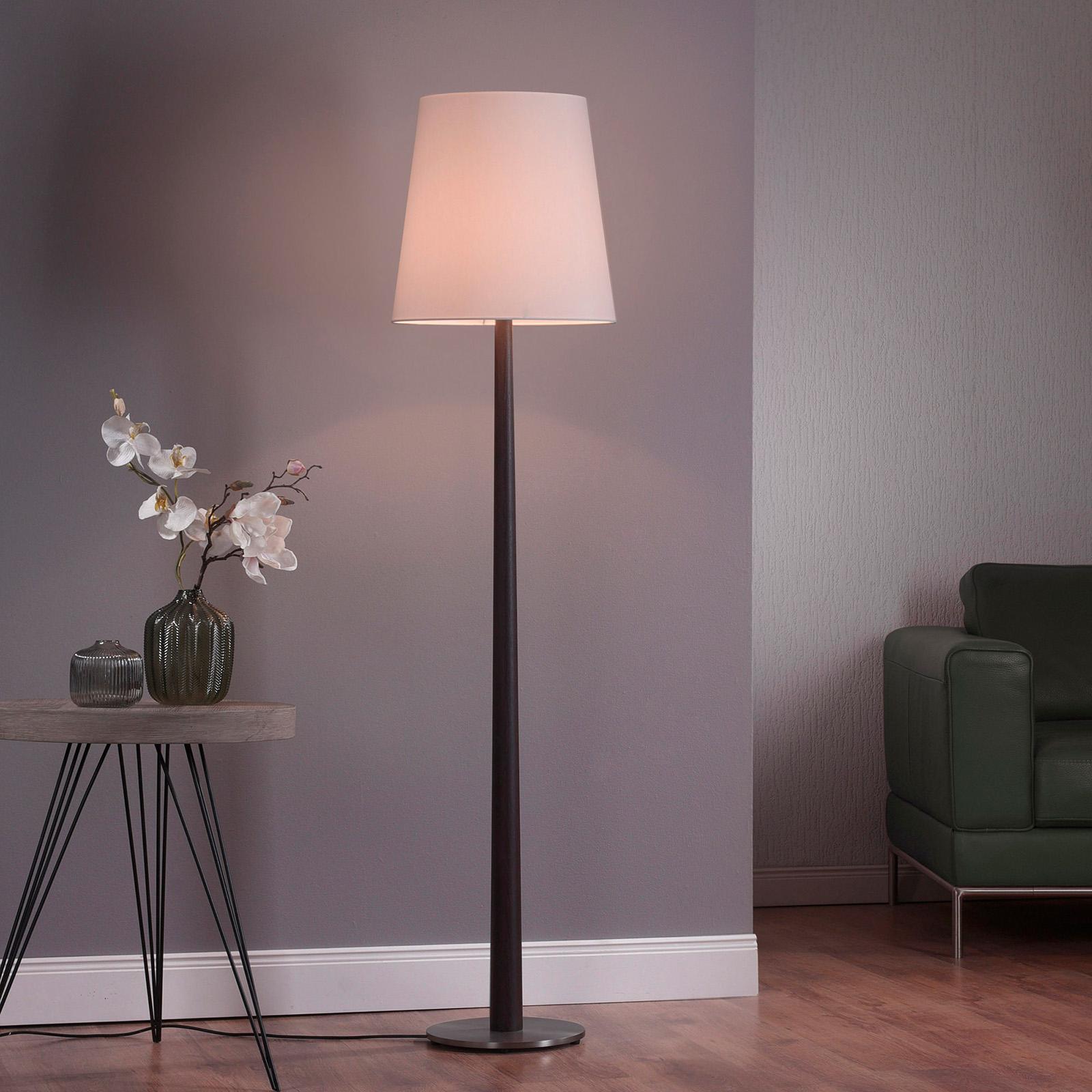 Lucande Elif lampa stojąca biała, dąb ciemny