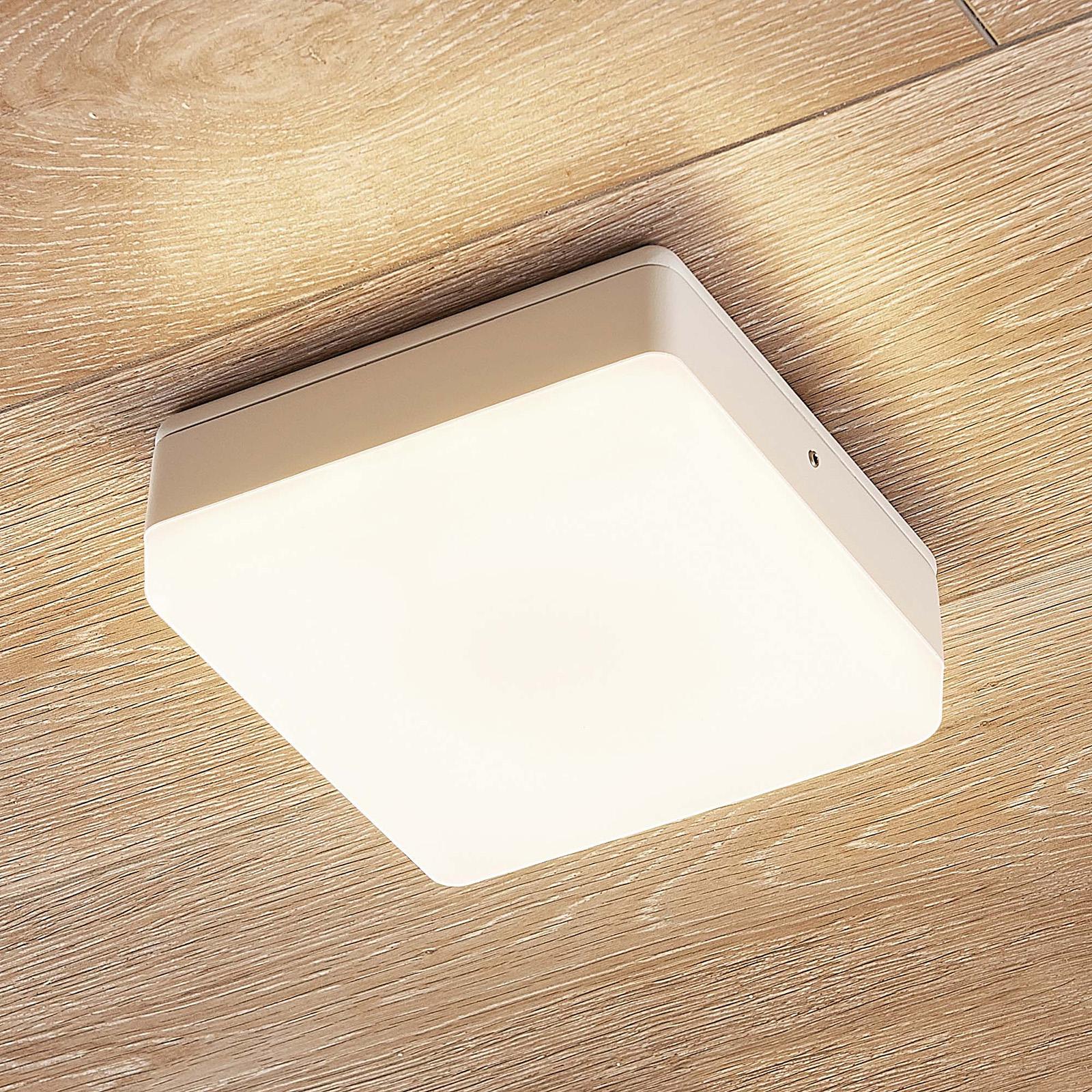 LED-taklampa Thilo, IP54, vit, 16 cm, HF-sensor