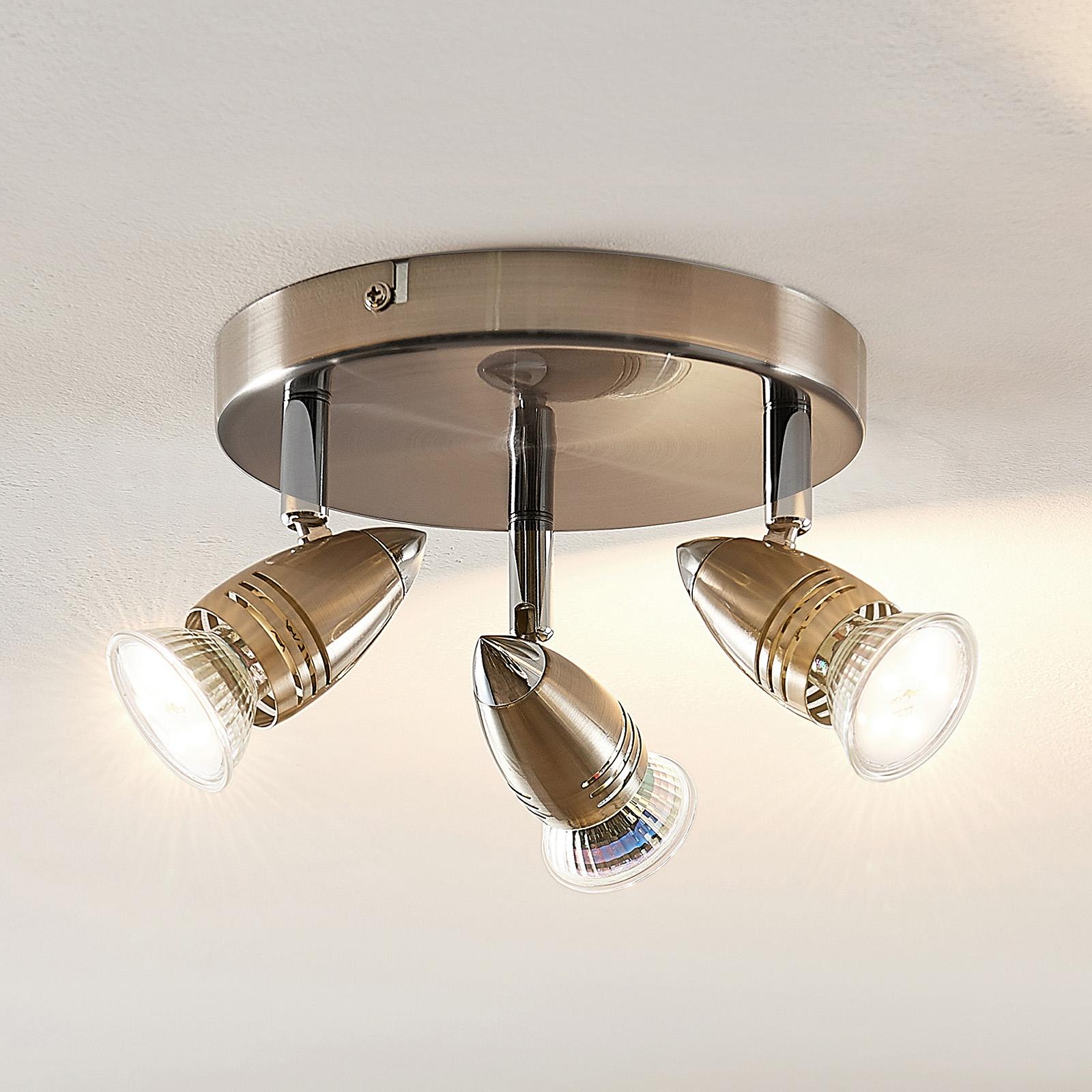 ELC Kalean LED-takspotlight, nickel, 3 lampor