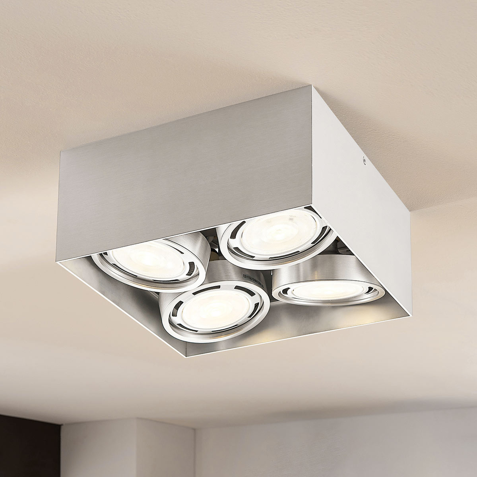 Downlight LED Rosalie à 4 lampes, angulaire, alu