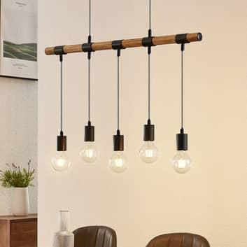 Lindby Sibillia hänglampa med trä, 5 lampor