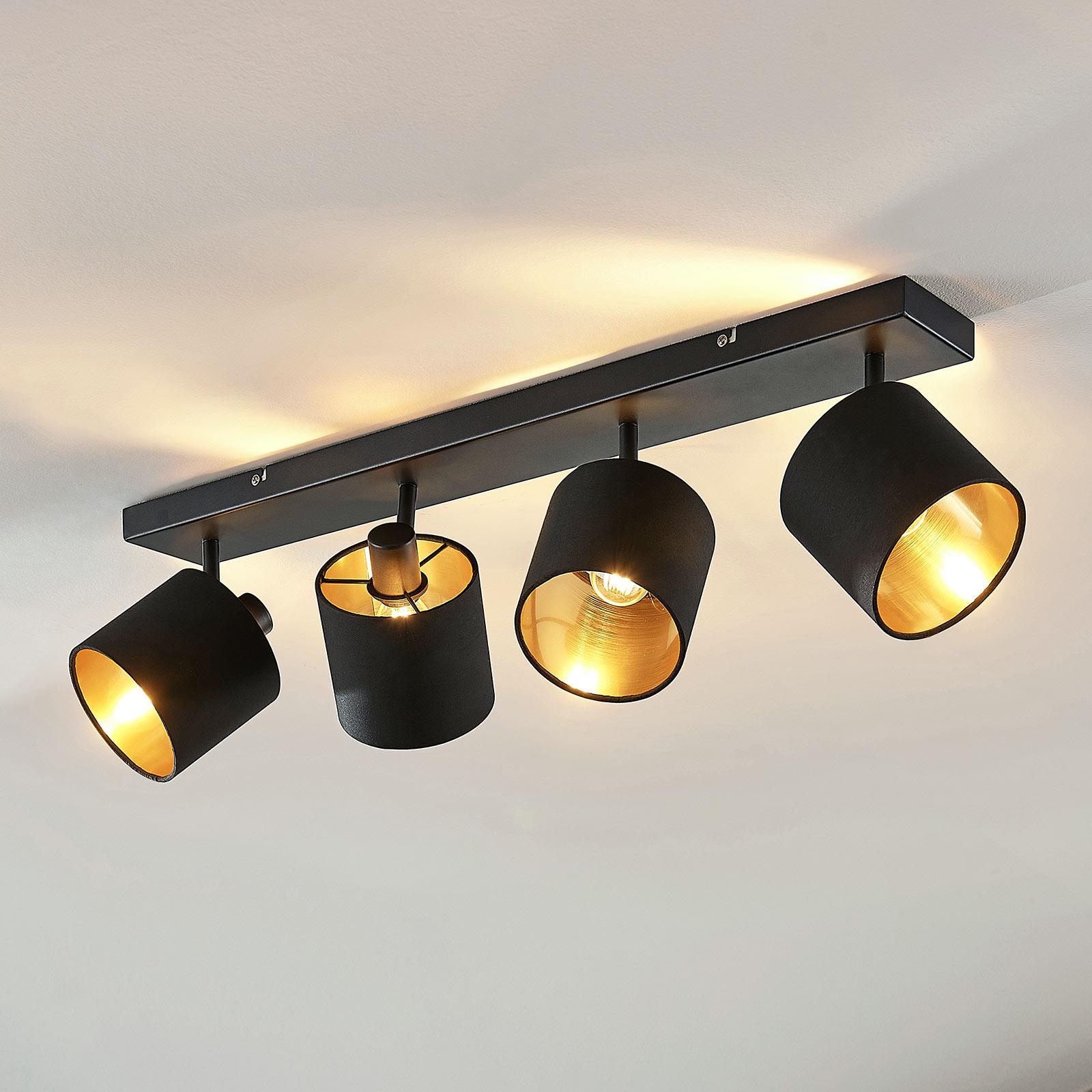 Stoffen plafondlamp Vasilia zwart-goud, 4-lamps
