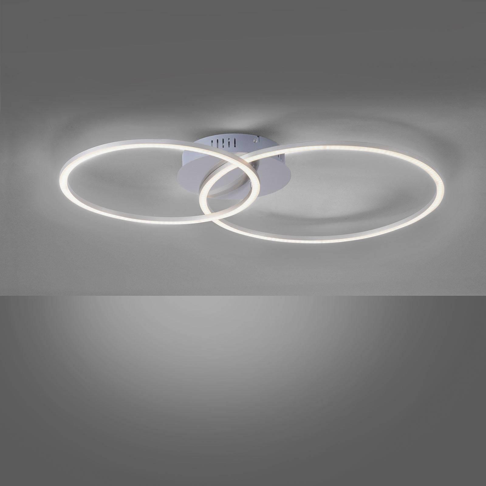 Lampa sufitowa LED Ivanka, dwa pierścienie, stal
