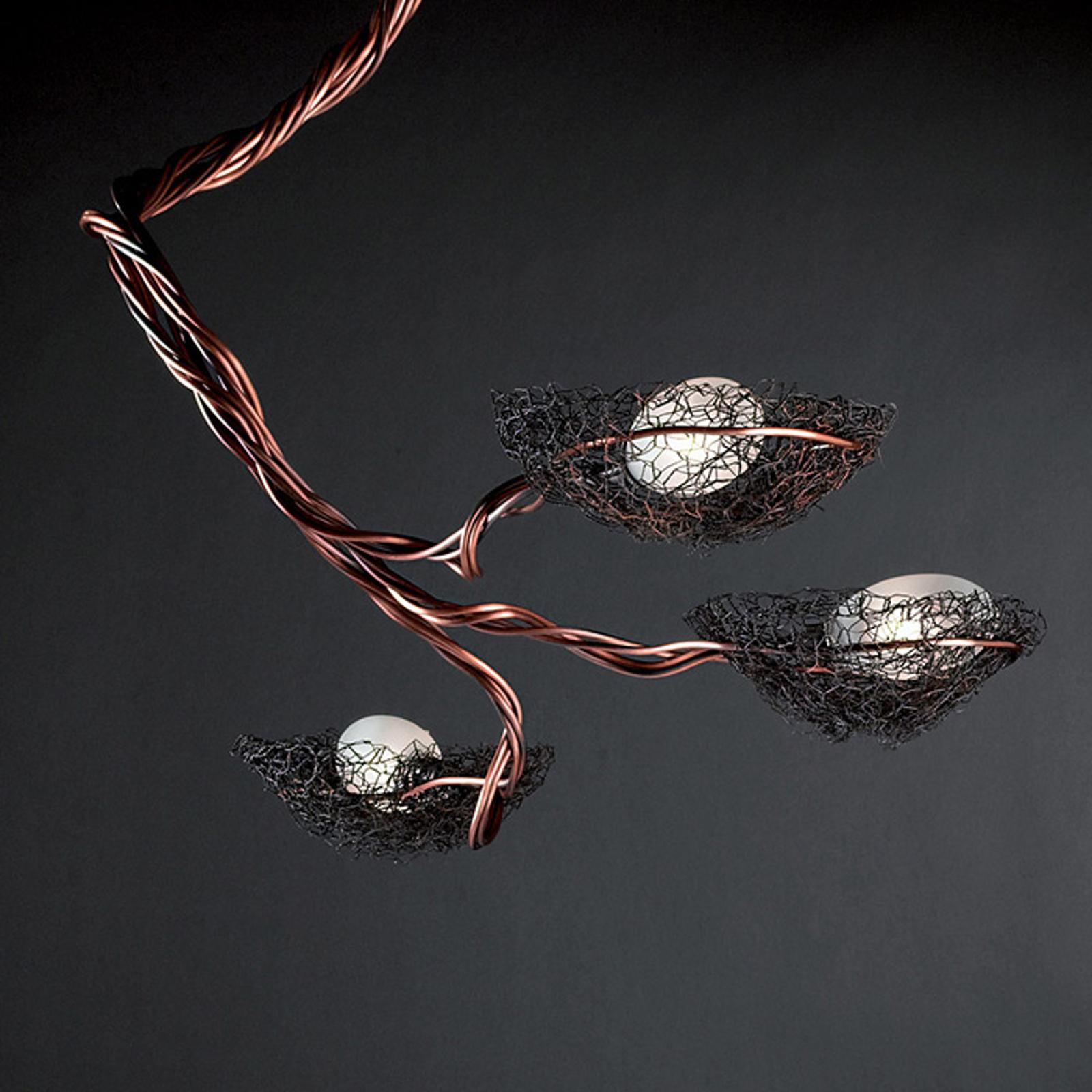 ICONE Nido - hanglamp, koper, drie lampen