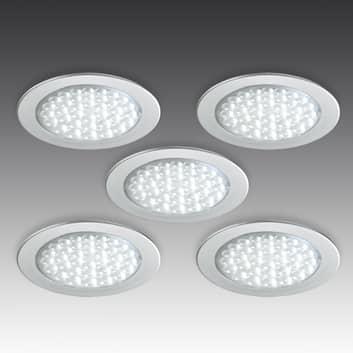 R 68 LED-innfellingsspot i rustfritt stål, 5 stykk