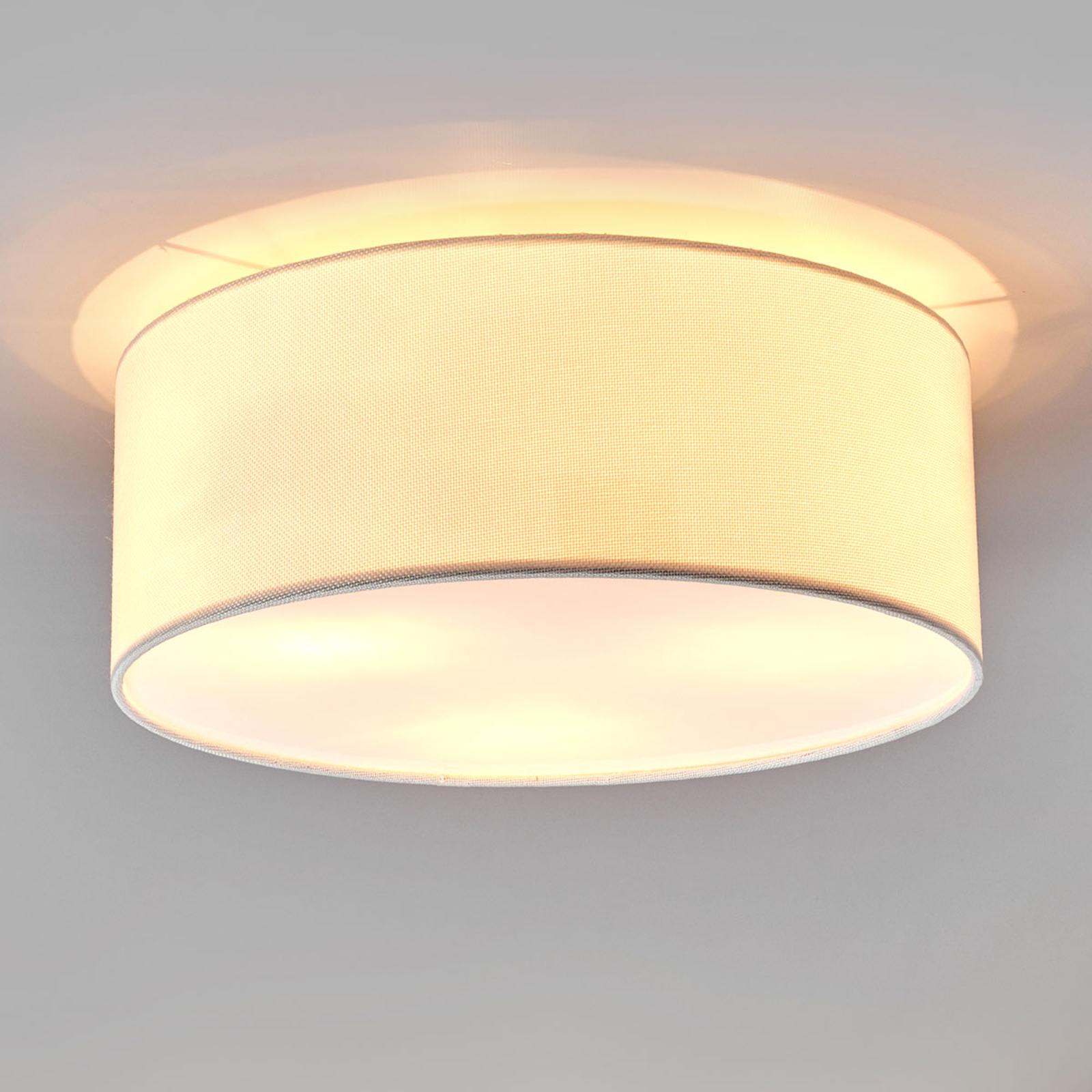 Biała materiałowa lampa sufitowa Henrika