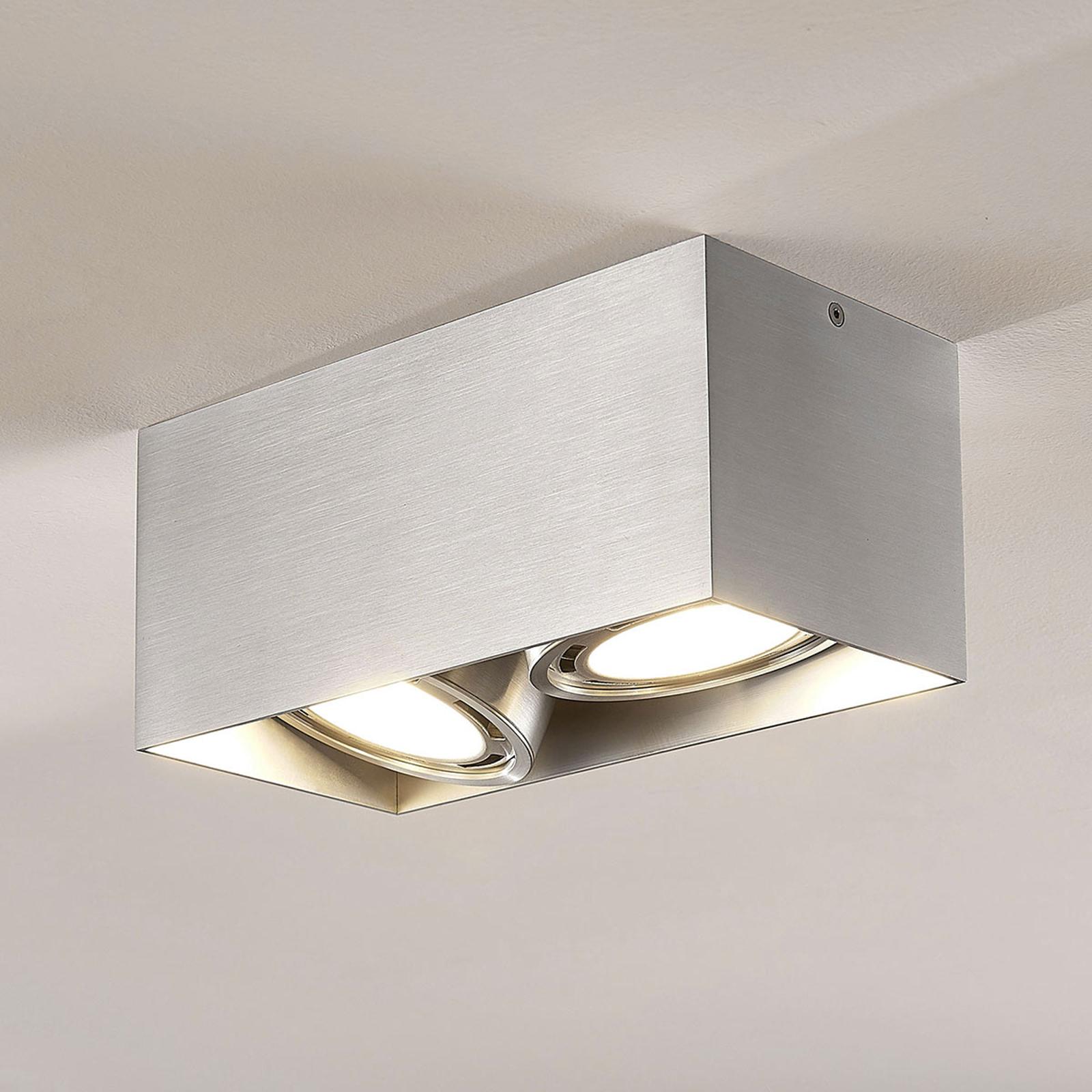 LED downlight Rosalie dimbaar hoekig 2-lamps alu