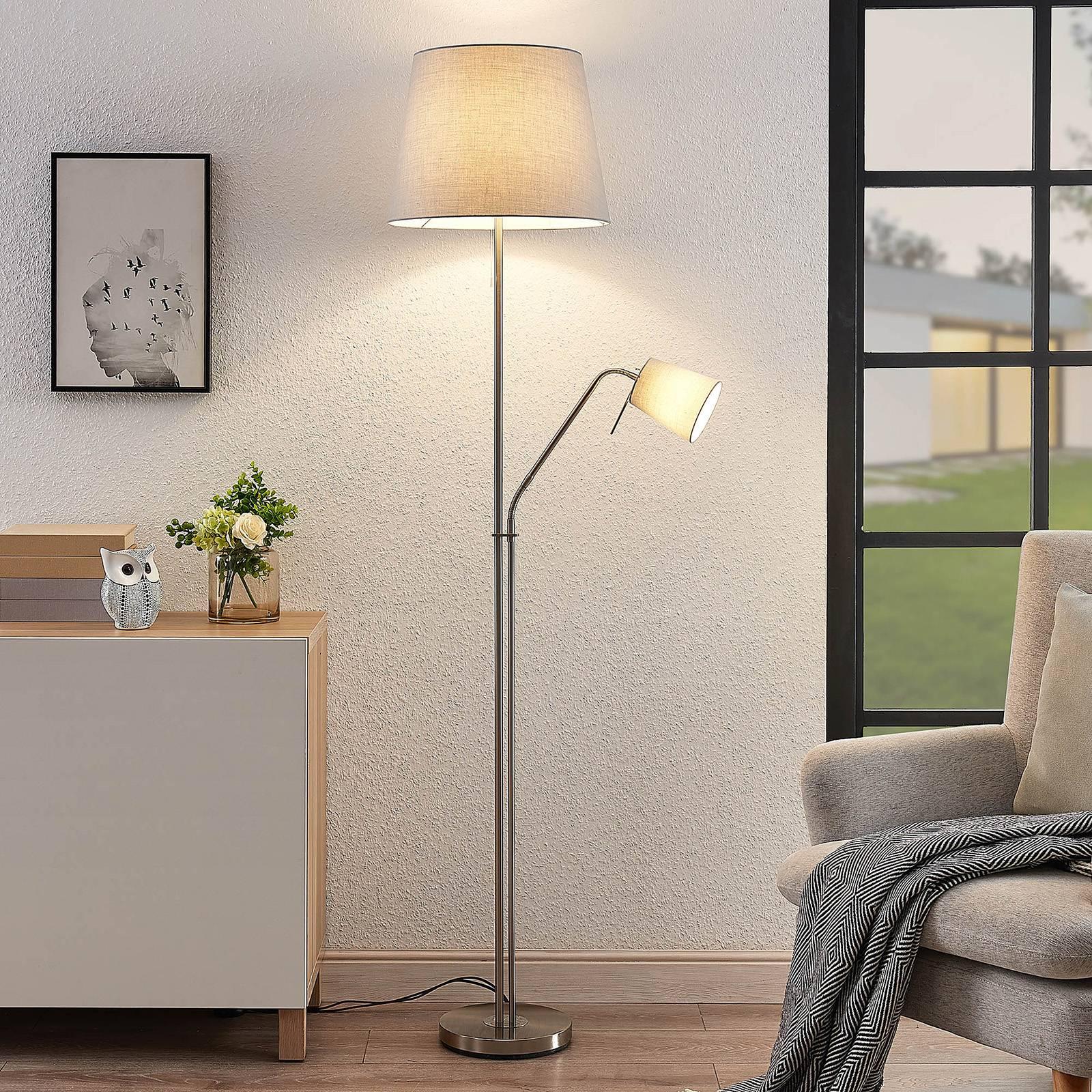 Lindby Nantwin vloerlamp, stoffen kap, grijs