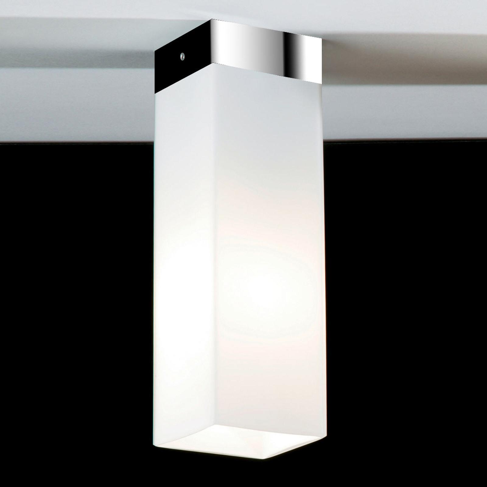 Opaalglazen plafondlamp QUADRO BOX, chroom