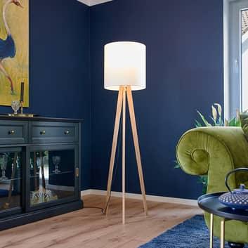 Lampa stojąca Nida z tkaniny, z drewnianą podstawą