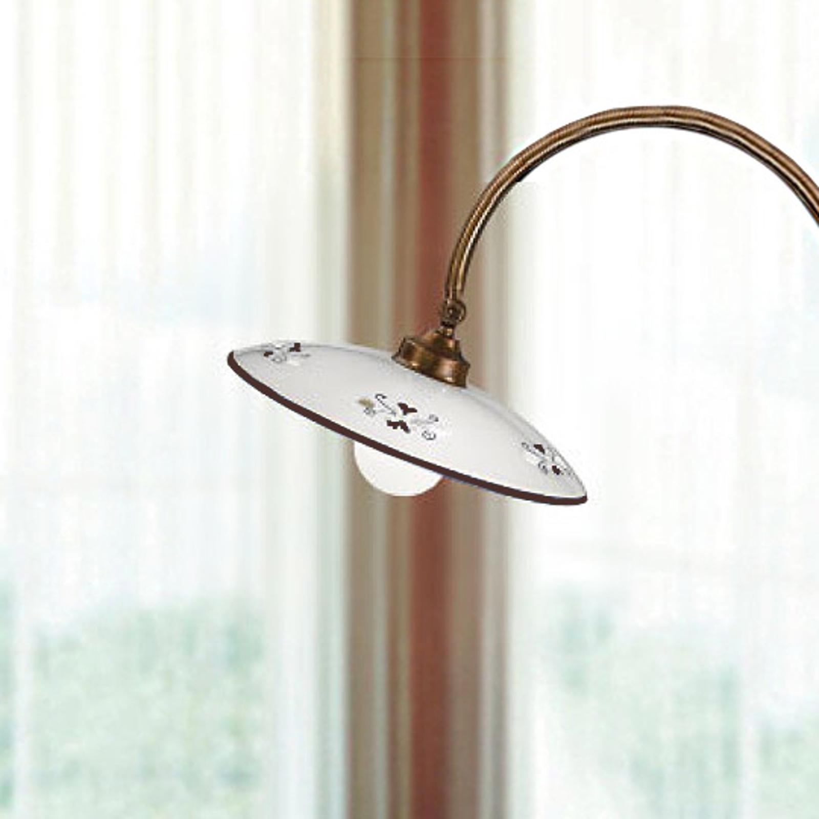 Stojací lampa Bassano, zakřivená, detaily hnědé