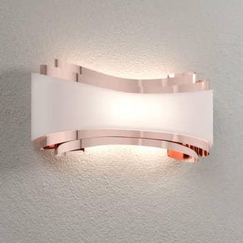 LED-Wandlampe Ionica, Kupfer mit Glasblende