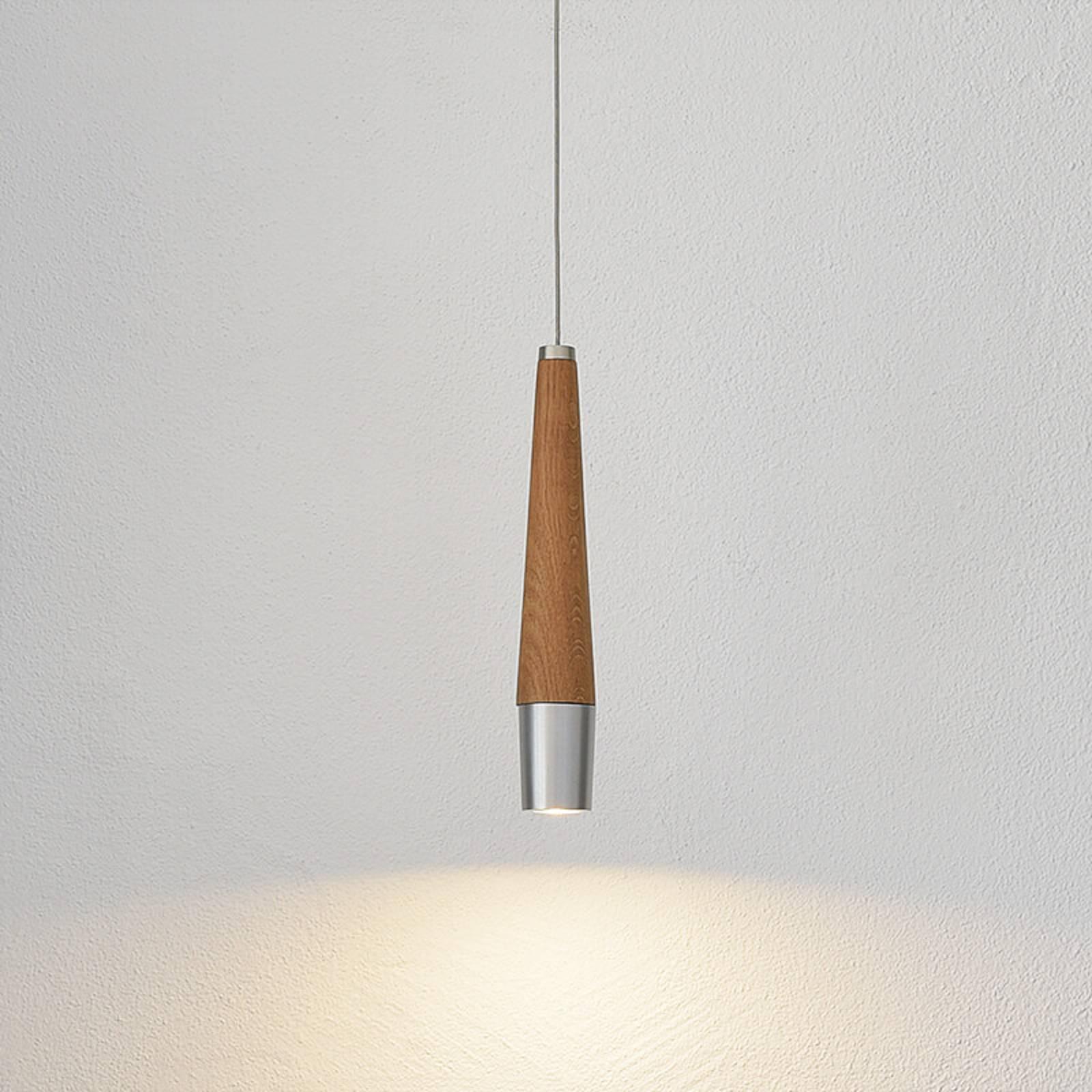 HerzBlut Conico hanglamp, eiken geolied, 1-lamp