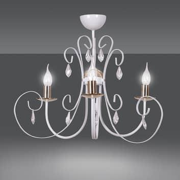Lámpara de araña Foreman 3, 3 luces blanco-cobre