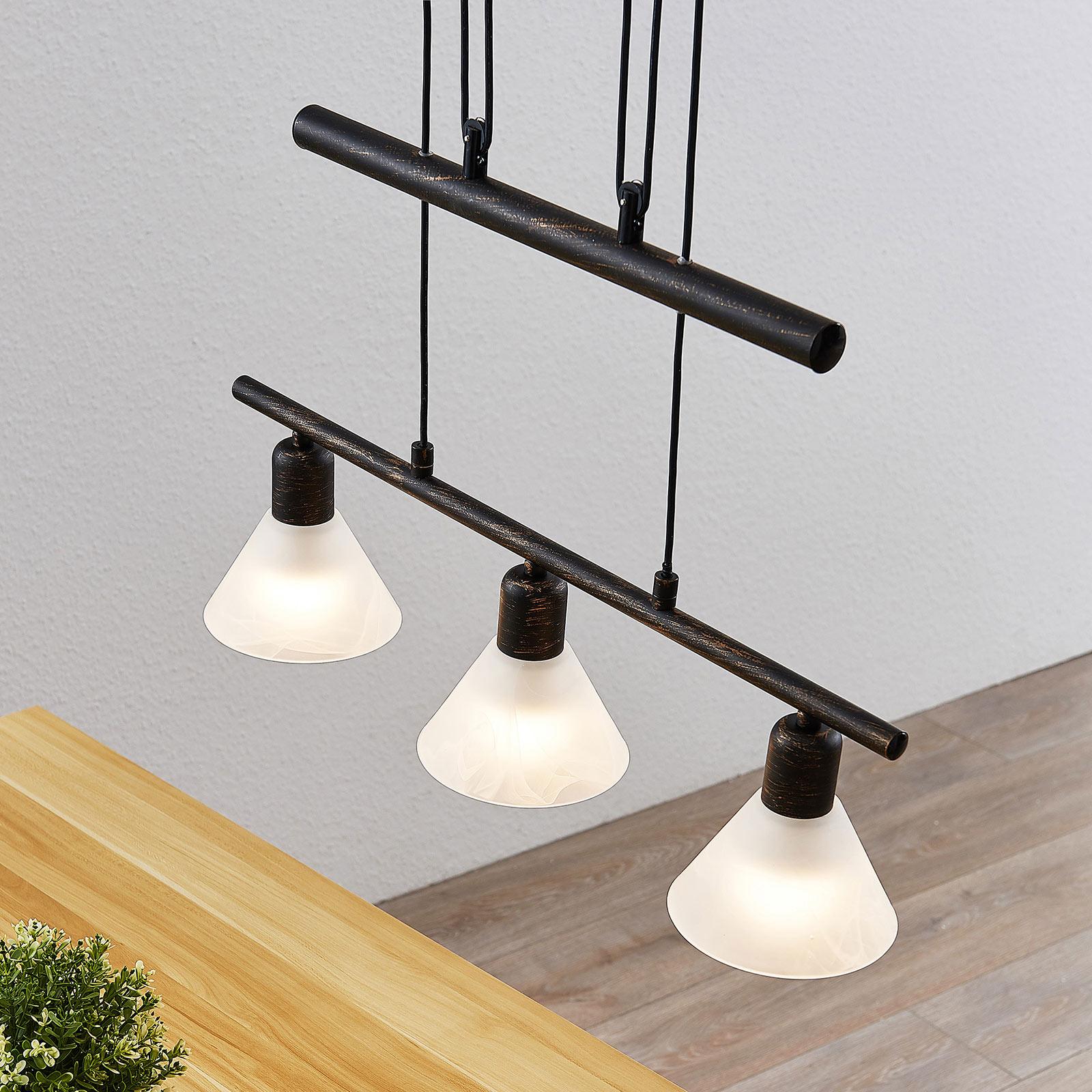 In ho verstelbare hanglamp Delira, 3 lampjes zwart