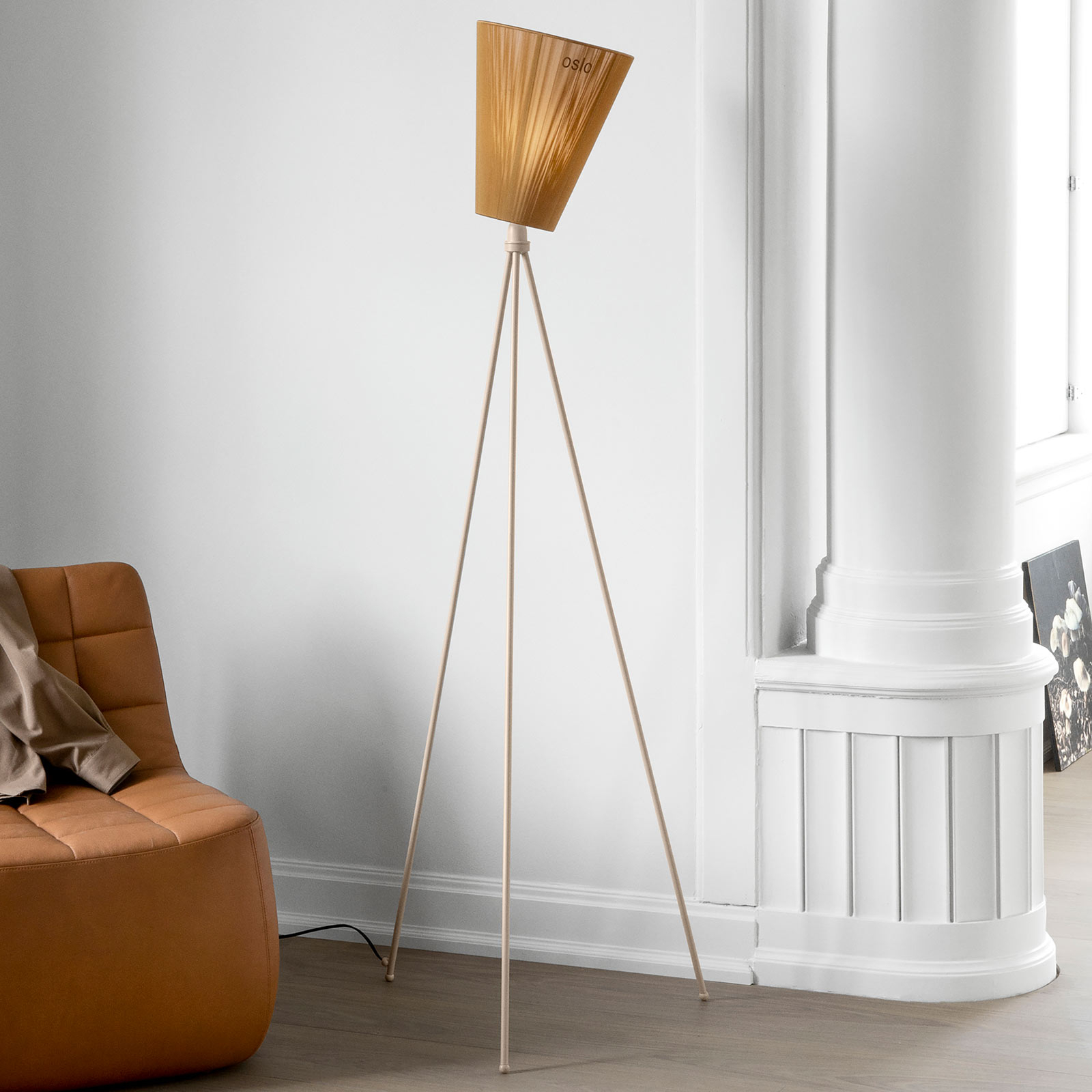 Northern Oslo Wood lampadaire caramel/beige
