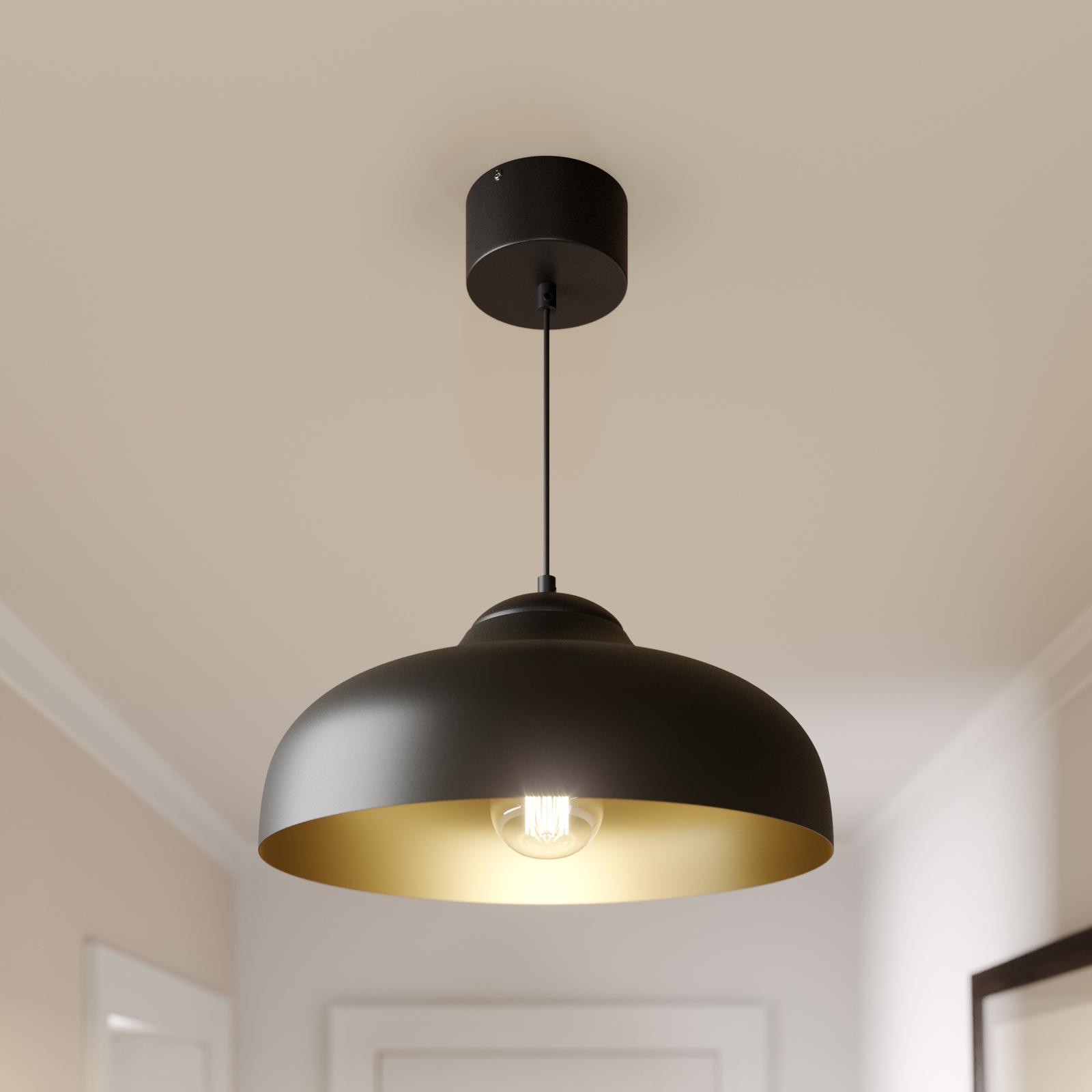 Lampa wisząca Basca, czarna, miedziana wewnątrz