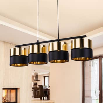 Suspension Hilton, noire/dorée, à quatre lampes
