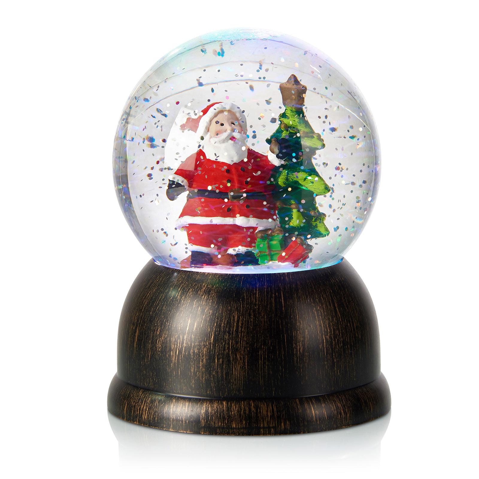 LED-Schneekugel Max mit Weihnachtsmann, bronze