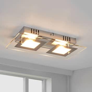 Manja - plafonnier LED à deux lampes chromé