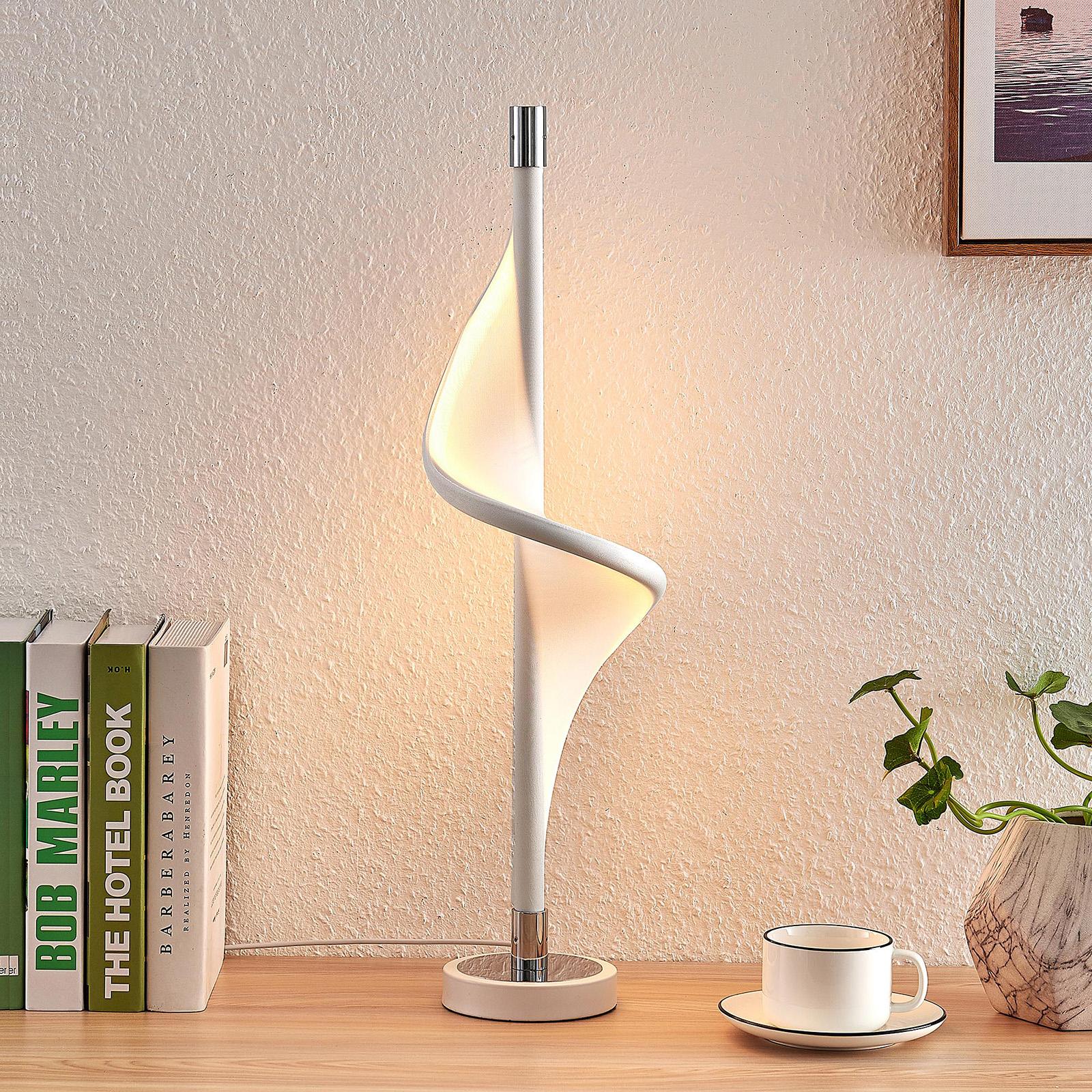 Lucande Edano lampe à poser LED de forme torsadée