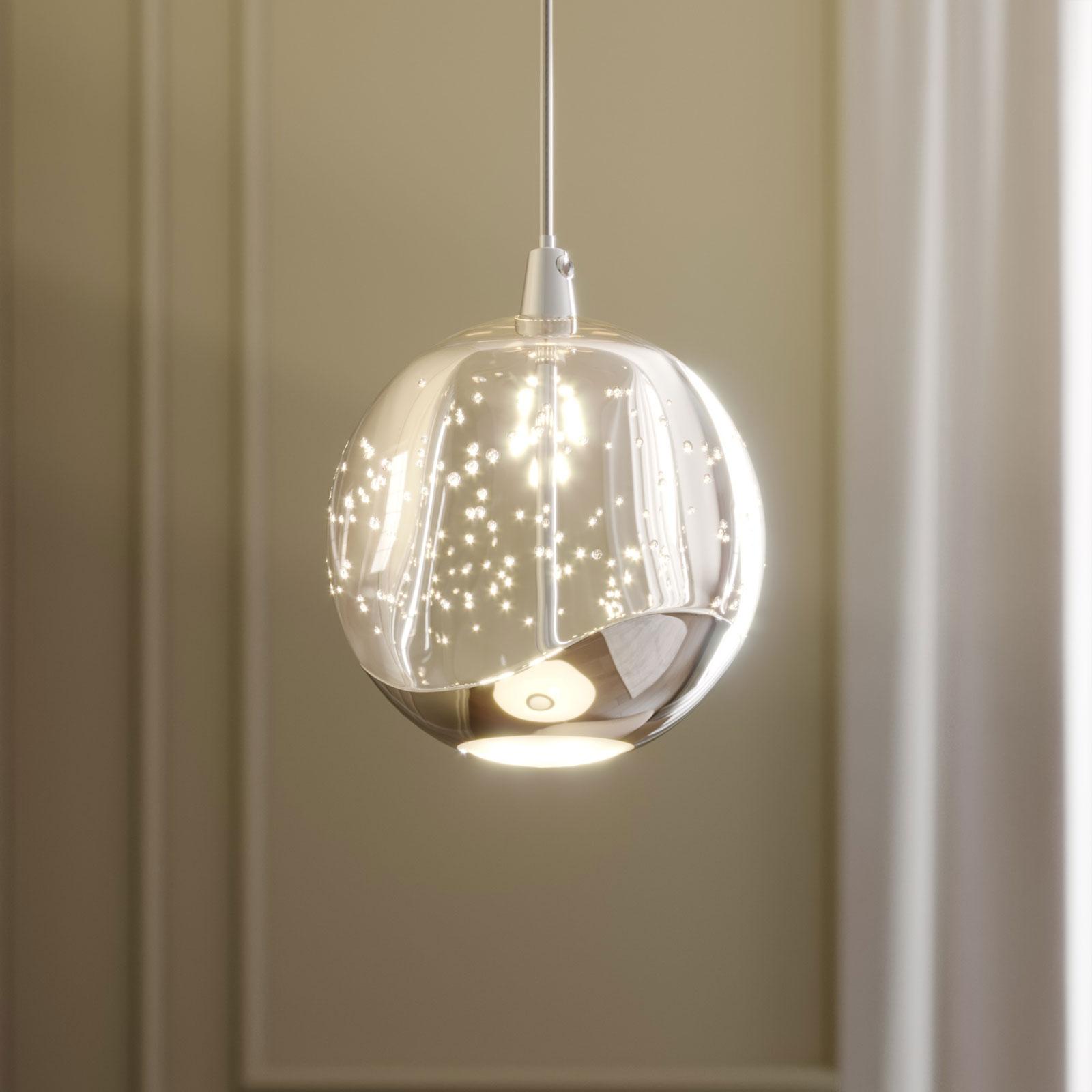 LED-pendellampe Hayley med glaskugle, 1 lys, krom