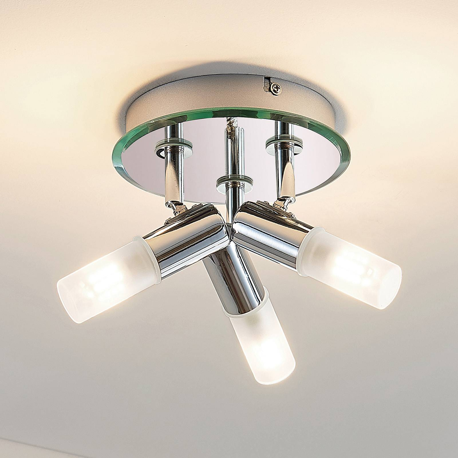 Badkamer plafondlamp Zela, met 3 lampjes in chroom
