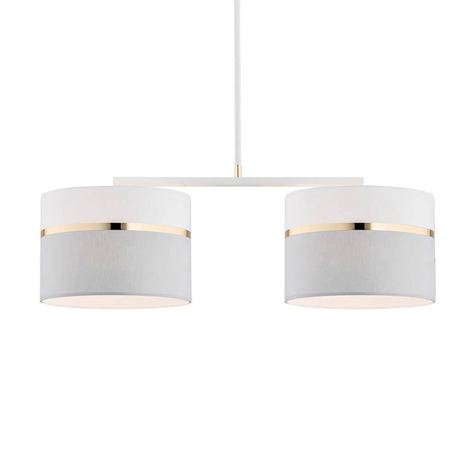 Suspension tissu Long 2 lampes blanc/gris/laiton