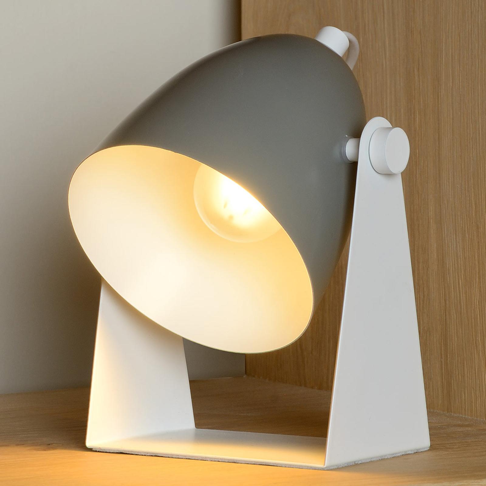 Lampa stołowa Chago z metalu, szara