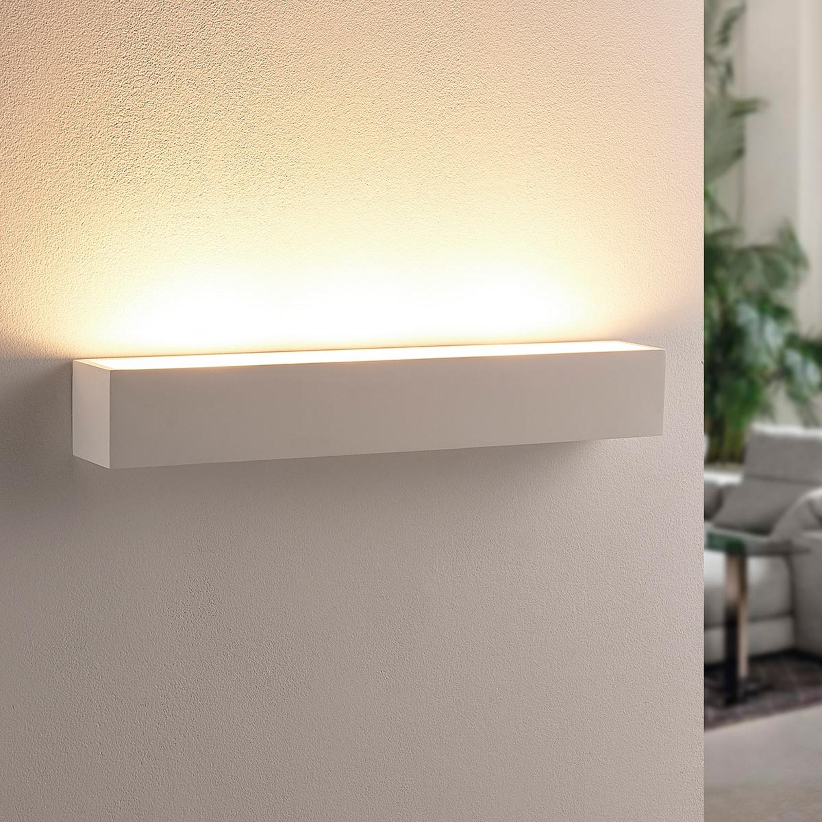 Bílá sádrová nástěnná LED lampa Santino, hranatá